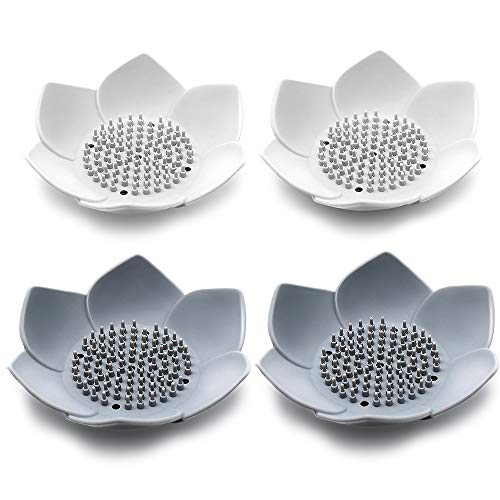 Kouik 4Pcs Soap Dish, Bar Soap Holder Case with Drain Holes, Silicone Soap Tray Saver Sponge Holder Scrubber Drainer Soap Dishes for Bathroom Shower Kitchen Sink Bathtub