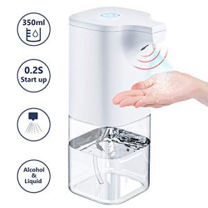 Automatic Hand Sanitizer Dispenser, 12oz Touchless Liquid Alcohol Plastic Spray Bottles Soap Dispenser with Infrared Motion Sensor, Battery Powered & Waterproof for Kitchen Bathroom Home Bar Hotel