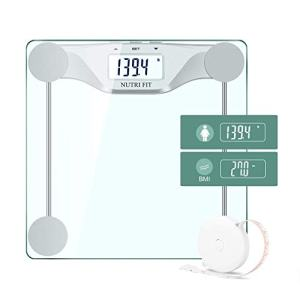 Digital Body Weight Bathroom Scale BMI, Accurate Weight Measurements Scale,Large Backlight Display and Step-On Technology,400 Pounds,Body Tape Measure Included (BMI)