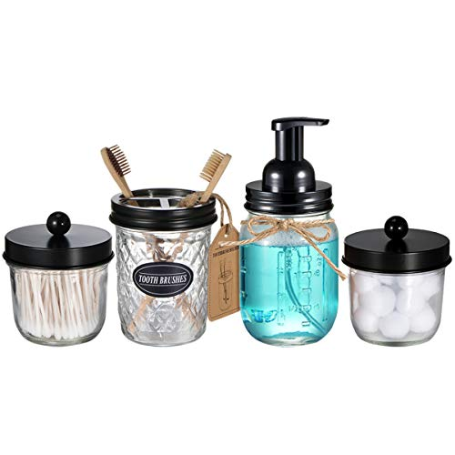 Mason Jar Bathroom Accessories Set(4 Pack) - Foaming Soap Dispenser&Qtip Holder Set&Toothbrush Holder-Rustic Farmhouse Decor Bathroom Organizer Apothecary Jar Country Countertop (Black)