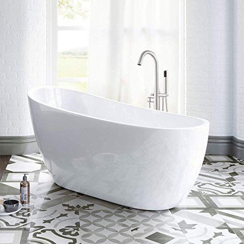 "Woodbridge 54"" Acrylic Freestanding Bathtub Contemporary Soaking Tub with Brushed Nickel Overflow and Drain BTA1507-B,White"