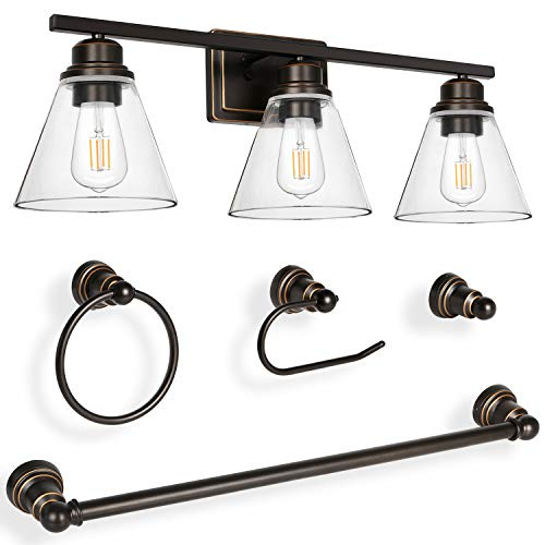 Hykolity 3-Light Vanity Light Fixture, 5-Piece All-in-One Bathroom Set (Led Edison Bulbs as Bonus), Oil Rubbed Bronze Wall Sconce Lighting with Glass Shads, ETL Listed