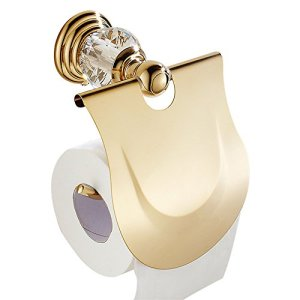 WINCASE European Toilet Paper Holder Roll Tissu Holder with Cover, Waterproof for WC All Zinc Construction Wall Mounted Luxury Polished Gold Finished
