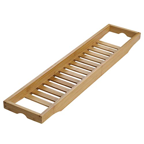 uxcell Bamboo Bathtub Tray, Bathroom Caddy Organizer, Non Slip Bath Serving Table Tray, with Phone/Book/Glass/Holders for Bath