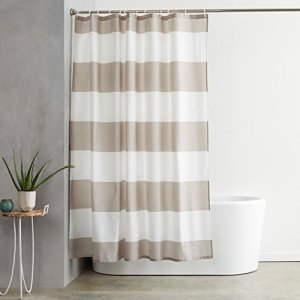 AmazonBasics Mold and Mildew Resistant Shower Curtain with Hooks, 72-Inch, Gray Stripe