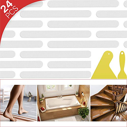 24 Pcs Non-Slip Bathtub Stickers, Anti Slip Shower Strips Treads, Safety Bathroom Tubs Mat with Scraper, for Pools Stairs Steps Ladders Boats