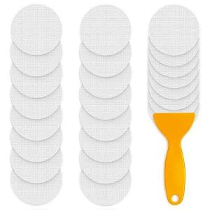 PGFUN 24PCS Adhesive Safety Treads Anti Slip Strips Stickers Non Skid Bathtub Appliques Clear Grip Tape for Shower Tub Steps Stair Floor Pools Boats with Scraper(Round)