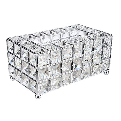 SUJING Luxury Crystal Handmade Home Decorative Tissue Holder Box Decorative Tissue Box Cover Napkins Container (Silver)