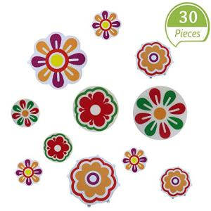 30 Pieces Non Slip Bathtub Stickers, Bright Flowers Appliques with Premium Scraper for Bath Tub Stairs Shower Room and Other Slippery Surfaces