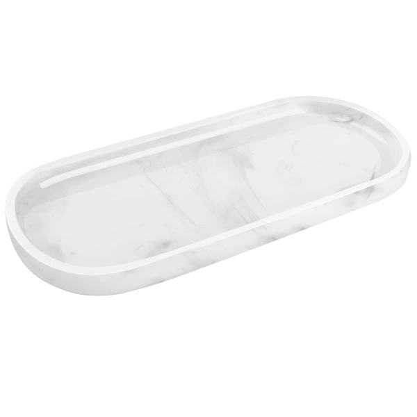 Luxspire Vanity Tray, Toilet Tank Oval Storage Tray, Resin Marble Pattern Soap Tray Bathtub Tray, Bathroom Countertop Organization, Vanity Organizer for Candles, Soap, Towel, Plant, etc - White Marble