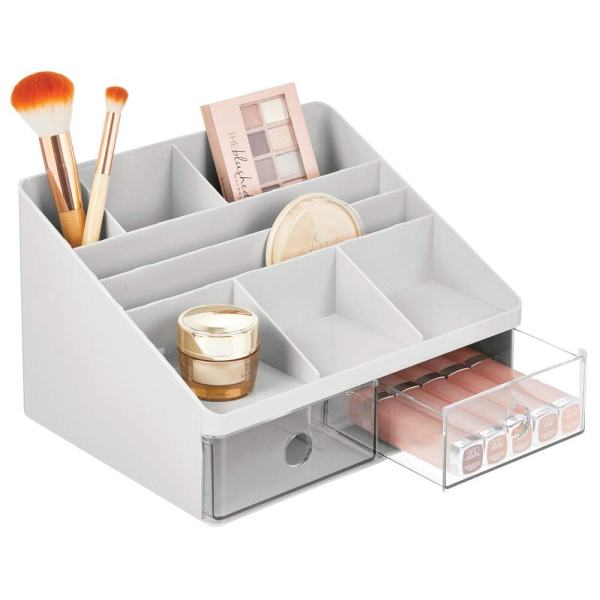 mDesign Plastic Tiered, Divided Makeup Organizer Storage Shelf and Display Box - 2 Drawers - for Bathroom Vanity Countertop - Holds Lip Gloss, Eye Shadow Palettes, Brushes, Blush, Mascara - Gray/Clear
