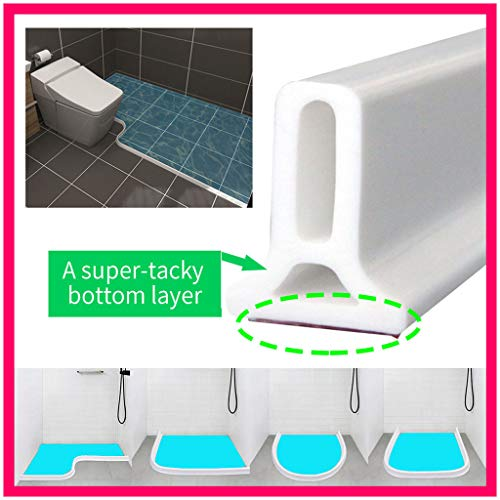 Collapsible Threshold Water Dam - Self-Adhesive Bendable Silicone Bath Shower Barrier Retainer - Waterproof Water Flow Block Seal Strip - Home Retention System Bathroom Kitchen (2M/78.7'', White)