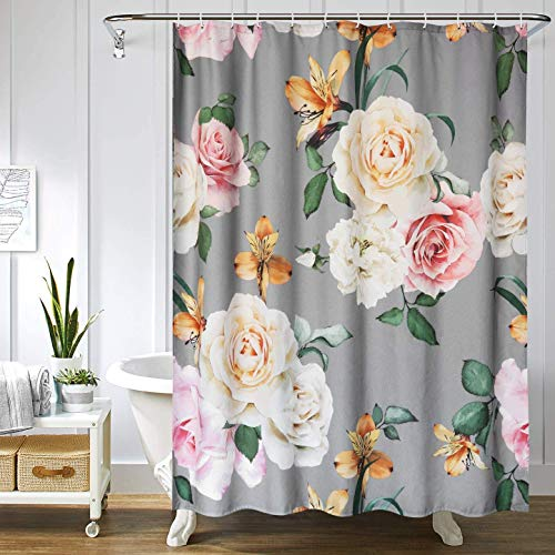 Uphome Fabric Floral Shower Curtain for Bathroom Grey and Cream Spring Flower Cloth Shower Curtain Set with Hooks Chic Rose Bathroom Accessories Decor,Waterproof and Heavy Duty,72x75