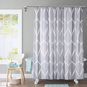 JRing Shower Curtain Polyester Fabric Machine Washable with 12 Hooks 72x72 Inch (Grey)
