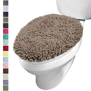 KANGAROO Plush Luxury Chenille Bath Room Toilet Lid Cover, 19.5 Inch x 18.5 Inch Large Size, Extra Soft and Absorbent Kids Shaggy Seat Covers, Washable, Fits Most Bathroom Toilet Lids, Beige