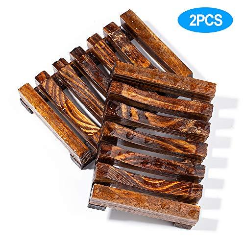 2Pcs Maloun Soap Dish Holders, Premium Anti-Slide Bathroom Wooden Soap Case Holder, Hand Made Natural Wooden Soap Dishes for Bathroom, Home Kitchen, Sink, Bathtub - Sink Soap Drainer, Soap Saver