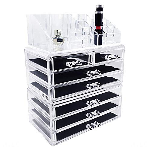Ikee Design Cosmetics Makeup and Jewelry Storage Case Display for Lipstick, Nail Polish, and Makeup Brushes, Cosmetic Jewelry Organizer Makeup Holder, Cosmetic Organizer for Vanity, Clear