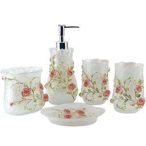 LUANT Resin 3D Roses 5PC Bathroom Accessories Set Soap Dispenser/Toothbrush Holder/Tumbler/Soap Dish (White)