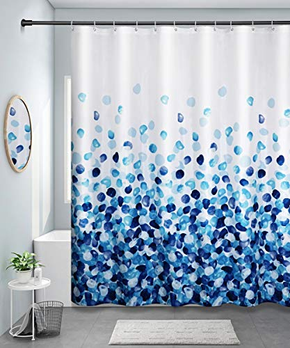 QueenDream Shower Curtain Fabric Blue Colorful with Hooks Bath Fall Curtains Waterproof 72x72 Inches