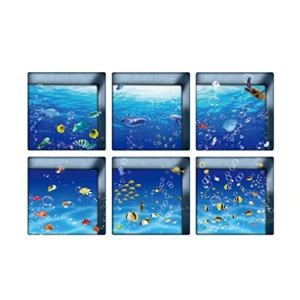 Garneck 6 Pcs 3D Bathtub Stickers Ocean World Pattern Waterproof Non-Slip Bathtub Appliques Wall Stickers Bathtub Decals for Toilet Bathroom 13x13cm
