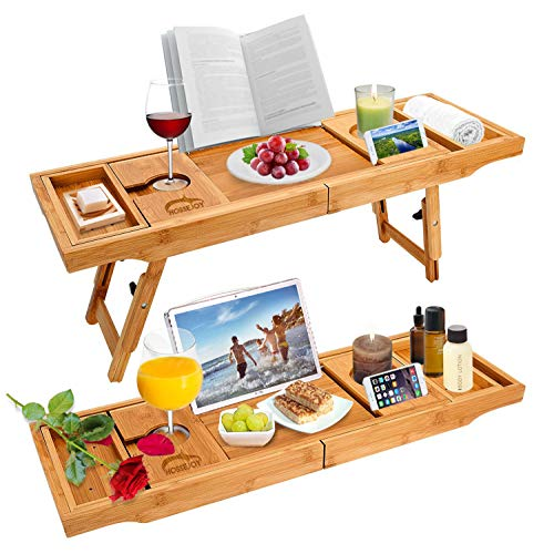 Widousy Luxury Bamboo Bathtub Caddy Bath Tub Tray Bridge Shower Shelves Organizer Tray With Stand Foot, Extending Sides Built in Book Tablet Integrated Wineglass Holder phone Tray & Accessories Placem