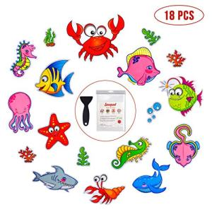 Non Slip Bathtub Stickers, 18 PCS Sea Adhesive Kids Anti Slip Decal Threads for Shower and Bath Tub with Premium Scraper