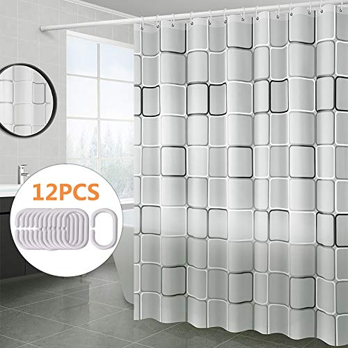 Shower Curtain for Bathroom, PEVA Waterproof Bath Shower Curtain Liner, Black and White Square Style Shower Bath Curtains with Matching Hooks, 72 x 72 inch