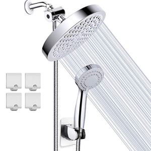 Taiker Shower Head, High Pressure Rainfall Shower Head/Handheld Combo, Luxury Modern Chrome Plated with 60'' Hose Anti-leak with Holder, 4 Shower Hooks