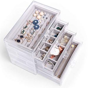 Acrylic Jewelry Box 4 Layers Clear Velvet Jewelry Organizer Case Cosmetic Organizer Vanity Storage Display Box Earring Rings Necklaces Bracelets Display Case Gift for Women, Girls
