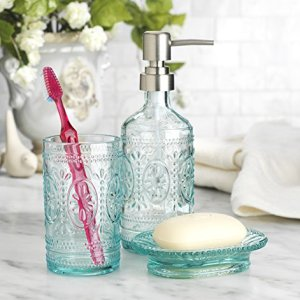 HC Classic Set of 3 Glass Bathroom ~Toothbrush Holder ~ Soap Holder ~ Soap Pump Lotion Dispenser (Blue)