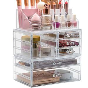 Sorbus Cosmetic Makeup and Jewelry Storage Case Display Organizer - Spacious Design - Great for Bathroom, Dresser, Vanity and Countertop (Large)