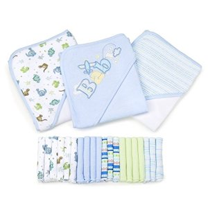 Spasilk 23-Piece Essential Baby Bath Gift Set – Hooded Baby Towels & Washcloths – Newborn Boy or Girl – Baby Shower Gift, Blue
