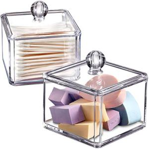 Modern Square Qtip Holder Acrylic Bathroom Vanity Countertop Storage Organizer Canister Jar for Cotton Swabs, Rounds, Balls, Makeup Sponges, Bath Salts - 2 Pack - Clear