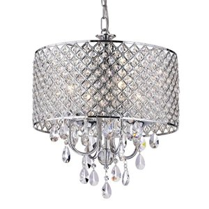 Edvivi Marya 4-Light Chrome Round Crystal Chandelier Ceiling Fixture   Beaded Drum Shade   Glam Lighting