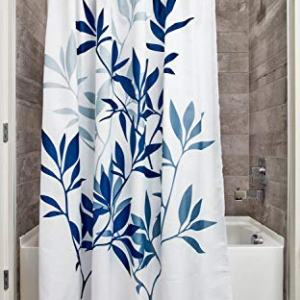 "iDesign Leaves Botanical Fabric Bathroom Shower Curtain - 72"" x 72"", White/Blue"