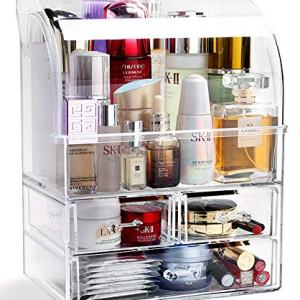 YeTrini Makeup Organizer,Modern DustProof Cosmetic Organizer Makeup Storage Holder,Cosmetic Display Case with 3 Drawers for Bathroom or Countertop or Vanity(Clear-L)