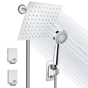 Shower Head, HUOSUC 8 Inch High Pressure Showerhead Stainless Steel Shower Head/Handheld Combo with 60'' Hose Anti-leak Shower Head with Holder, Flow Regulator, 2 Shower Hooks