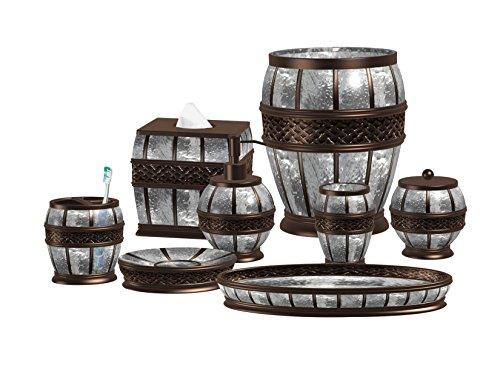 nu steel Resin Crackled Ice Bath Accessory Set Vanity Countertop, 8 pcs Luxury Ensemble-Cotton Swab, Dish, Toothbrush Holder, Tumbler, soap Pump, Wastebasket, Tissue Box, Tray, Oil Rubbed Bronze