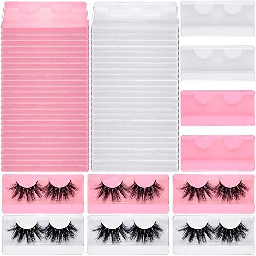 50 Pieces Large Eyelash Box Empty False Eyelash Storage Case Plastic Lash Container Box Holder Makeup Organizer Case for Boutique Beauty Salons (White and Pink)