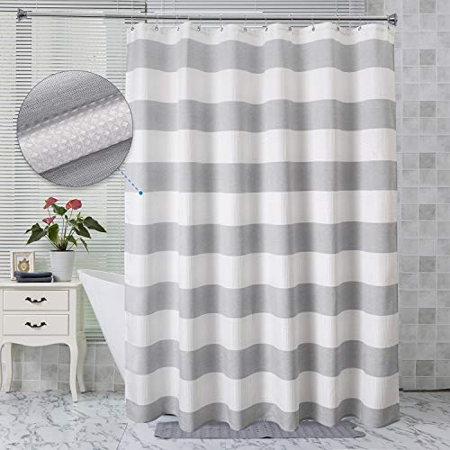 AmazerBath Waffle Weave Fabric Shower Curtain, Decorative Shower Curtains for Bathroom, White Shower Curtain Waffle Texture and Gray Stripe Hotel Luxury, Machine Washable, 72 x 72 Inches