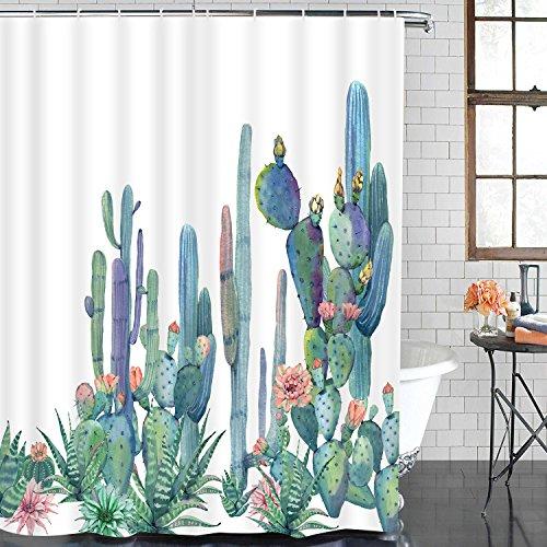 Alishomtll Bathroom Shower Curtain Tropical Cactus Shower Curtains with 12 Hooks, Cactus Flowers Blossom Bath Curtain Durable Waterproof Fabric Bathroom Curtain (Cactus, 70 × 69 inches)
