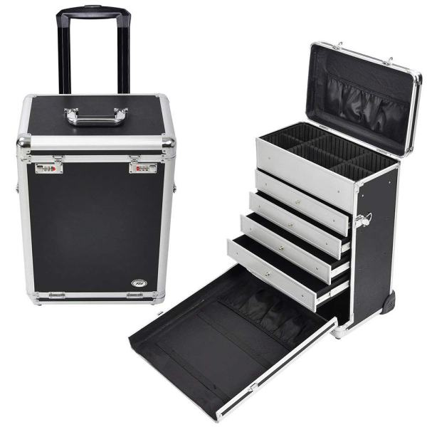AW Pro Rolling Jewelry Makeup Organizer Case with 4 Drawers Code Lock Aluminum Portable Display Makeup Barber Train Box