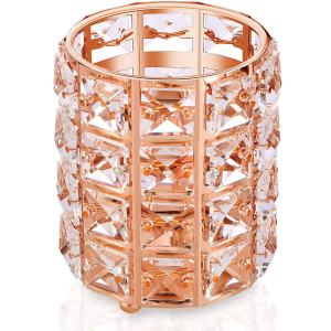 Rose Gold Makeup Brush Holder, Crystal Vanity Tool Display Organizer Container, Pencil and Make Up Storage Cup, Round Luxurious Jewelry Rack Case for Bathroom, Home, Bedroom, Office(Rose Gold)