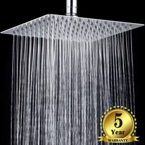 Diamber Crackproof Rain Shower Head 12 inch Square, SUS 304 Stainless Steel Luxury Waterfall Showerhead, Chrome, 5-year Warranty