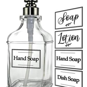 JASAI Antique Design 18Oz Soap Dispenser with Jumbo Rust Proof 304 Stainless Steel Pump, Refillable Hand Soap Dispenser with 6Pcs Clear Stickers, Premium Kitchen & Bathroom Soap Dispenser
