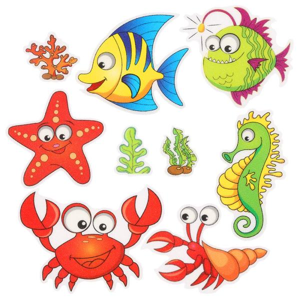 Pack of 9,Non Slip Bathtub Stickers,Adhesive Decals With Bright Colors,Ideal Large Appliques For Your family's Safety,Suit for Bath Tub,Stairs,Shower Room & Other Slippery Surfaces.(Shrimp And Crab)