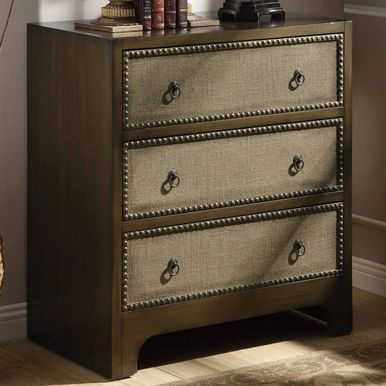 Accent Cabinets 3 Drawer Cabinet With Linen Drawer Fronts Quality Furniture At Affordable
