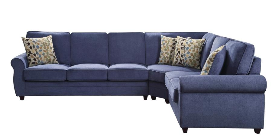 Kendrick Transitional Style Blue Chenille Fabric Casual Sectional Sofa With Pull Out Bed
