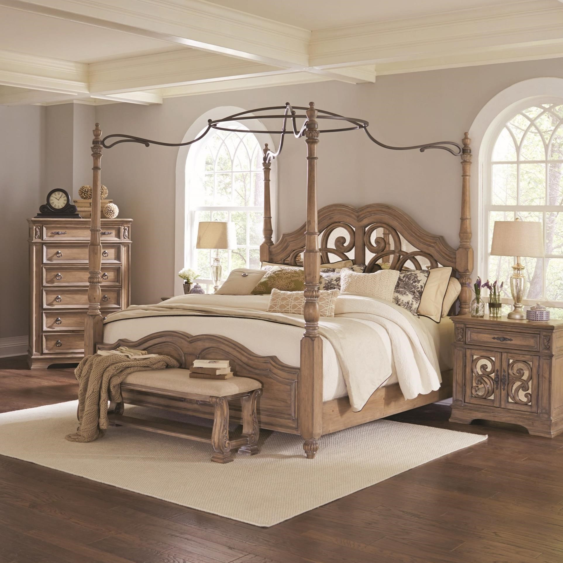 Ilana Queen Canopy Bed With Mirror Back Headboard Quality Furniture At Affordable Prices In Philadelphia Main Line Pa
