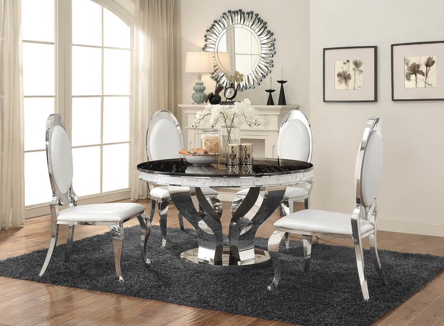 Anchorage Faux Marble And Chrome Stainless Steel 5 Piece